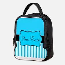 Personalizable Teal White Black Neoprene Lunch Bag