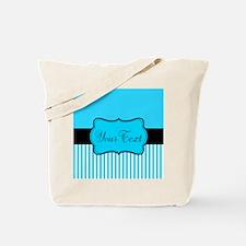 Personalizable Teal White Black Tote Bag