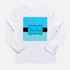 Personalizable Teal White Black Long Sleeve T-Shir