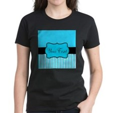 Personalizable Teal White Black T-Shirt