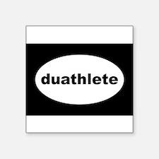 "Cute Duathlon Square Sticker 3"" x 3"""