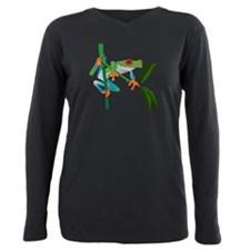 Cute Red eyed tree frog Plus Size Long Sleeve Tee