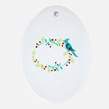 Blue Jay Berry Frame Oval Ornament