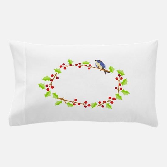 Blue Bird Holly Frame Pillow Case