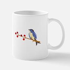 Winter Blue Bird On Branch Mugs