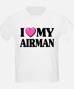 I Heart ( Love ) My Airman Kids T-Shirt