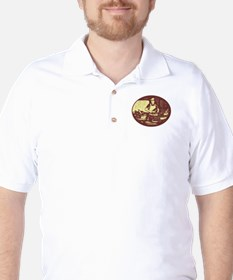 Taco Cook in Food Stall Oval Retro Golf Shirt