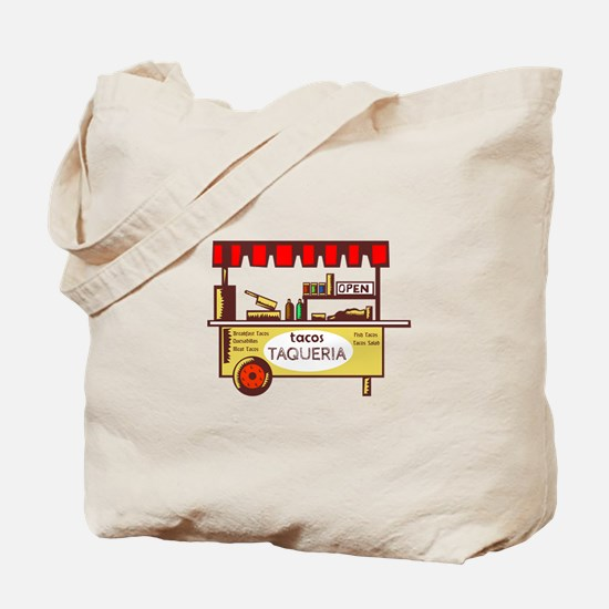 Taco Stand Taqueria Stand Woodcut Tote Bag