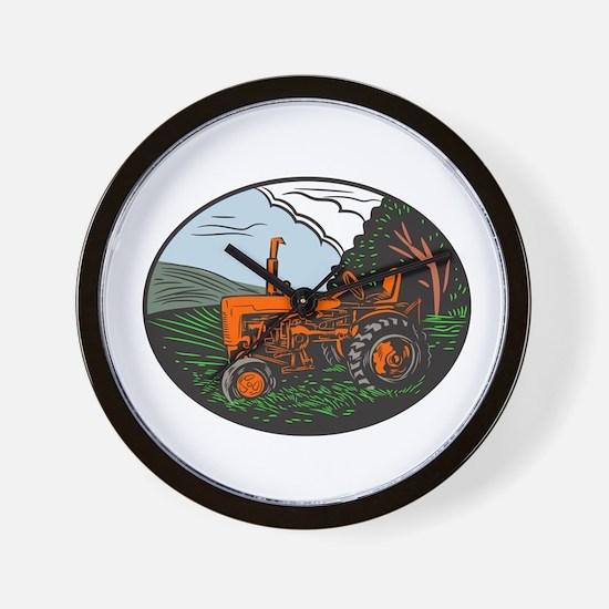 Vintage Tractor Farm Woodcut Wall Clock