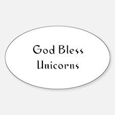 God Bless Unicorns Oval Decal