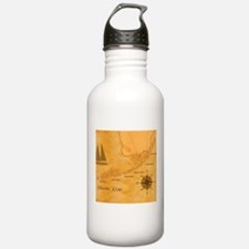 Vintage Nautical Florida Keys Map Water Bottle
