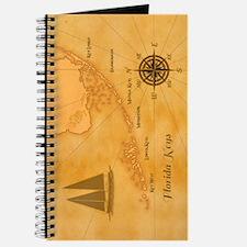 Vintage Nautical Florida Keys Map Journal