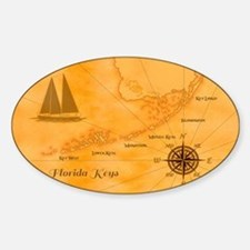 Vintage Nautical Florida Keys Map Decal