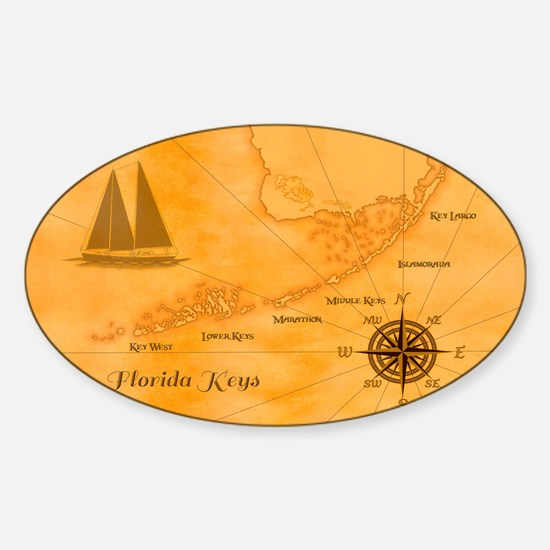 Vintage Nautical Florida Keys Map Decal