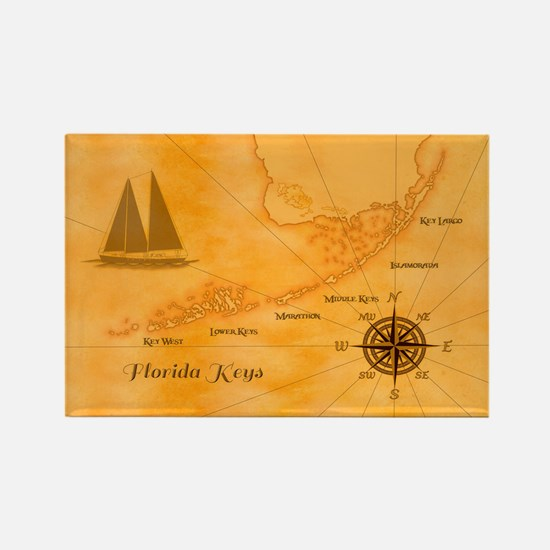 Vintage Nautical Florida Keys Map Magnets