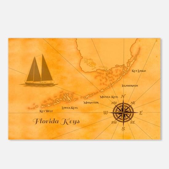 Vintage Nautical Florida Keys Map Postcards (Packa