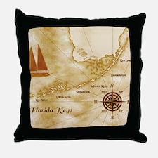 Vintage Nautical Florida Keys Map Throw Pillow