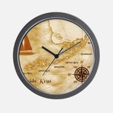 Vintage Nautical Florida Keys Map Wall Clock