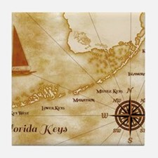 Vintage Nautical Florida Keys Map Tile Coaster