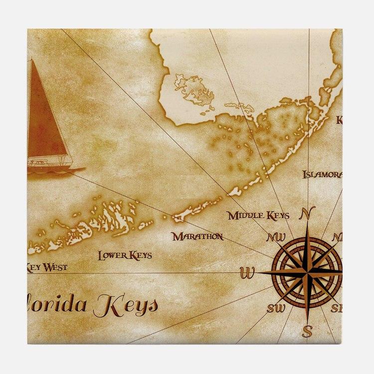 Vintage Nautical Florida Keys Map Tile Coaster