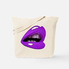 Glossy Purple Lips Glam Sexy Kiss Tote Bag