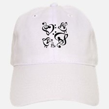 Clef Heart Music Notes Pattern Baseball Baseball Cap