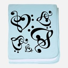 Clef Heart Music Notes Pattern baby blanket