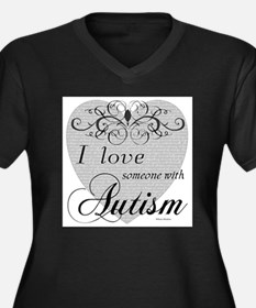 Cute I love someone with autism Women's Plus Size V-Neck Dark T-Shirt