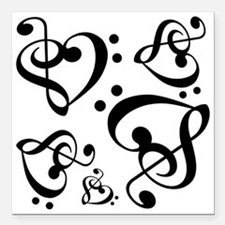 """Clef Heart Music Notes P Square Car Magnet 3"""" x 3"""""""