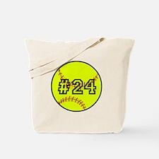 Softball with Custom Player Number Tote Bag