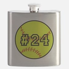 Softball with Custom Player Number Flask