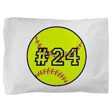 Softball with Custom Player Number Pillow Sham