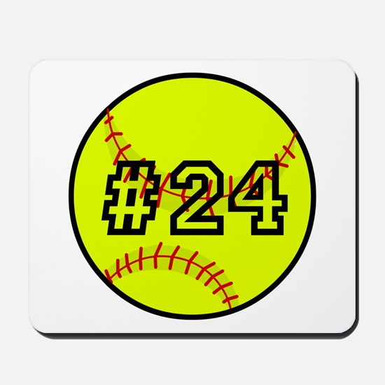 Softball with Custom Player Number Mousepad