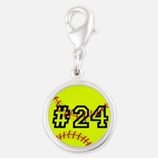 Softball with Custom Player Nu Silver Round Charm