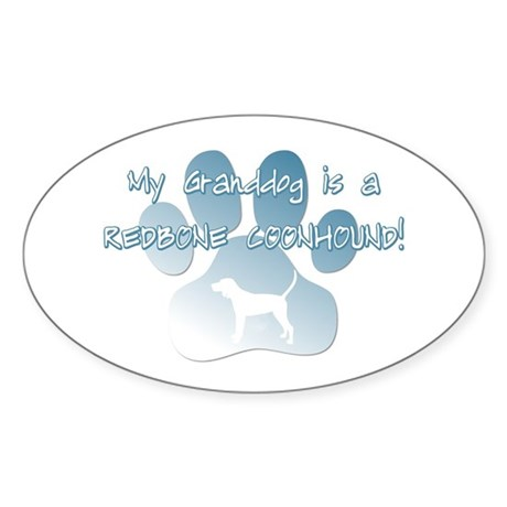 Redbone Coonhound Granddog Oval Sticker