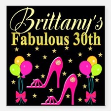 "30TH PARTY Square Car Magnet 3"" x 3"""