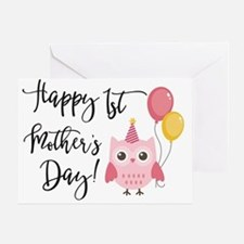 Happy 1st Mother's Day Pink Owl Greeting Cards