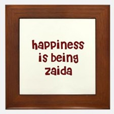 happiness is being Zaida Framed Tile