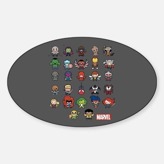 Marvel Kawaii Heroes Sticker (Oval)