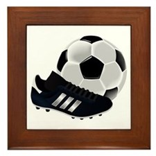 Soccer Ball And Shoes Framed Tile