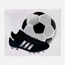 Soccer Ball And Shoes Throw Blanket