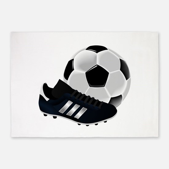Soccer Ball And Shoes 5'x7'Area Rug