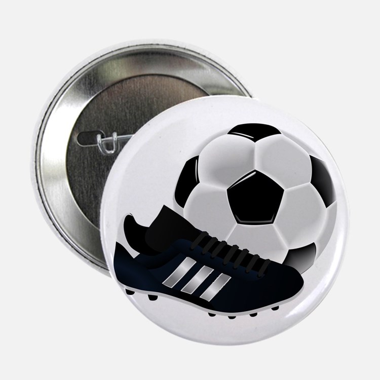 "Soccer Ball And Shoes 2.25"" Button"