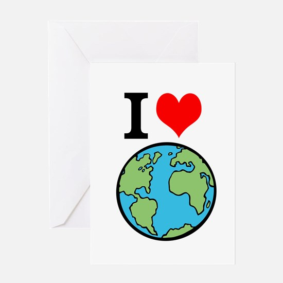 I Love Earth Greeting Cards