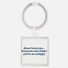 Cute Offensive religious Square Keychain