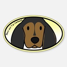 Anime Black Tan Coonhound Oval Decal