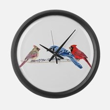 Birds in the Snow Large Wall Clock
