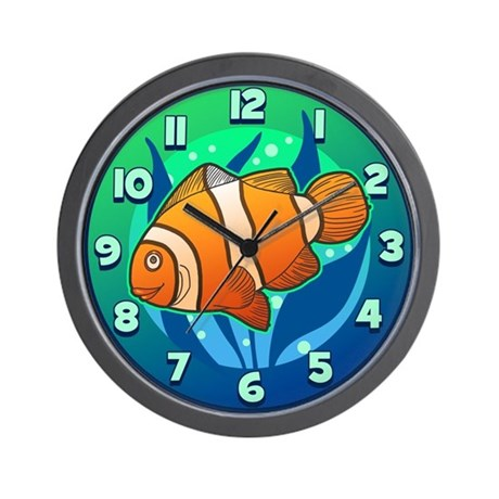 Tropical clown fish kids wall clock by koncepts for Fish wall clock