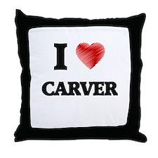 I Love Carver Throw Pillow