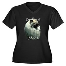 Keeshond Mom2 Women's Plus Size V-Neck Dark T-Shir